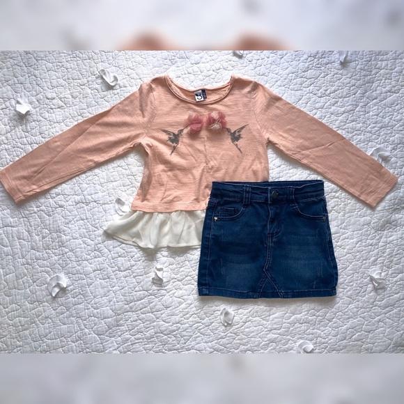 3pommes | Knit Top + Distressed Denim Skirt